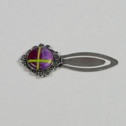 marque page cabochon fait main, rond, violet et vert pomme