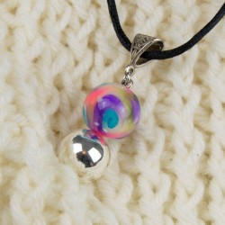 Détail, bola de grossesse, perles spirale multicolore