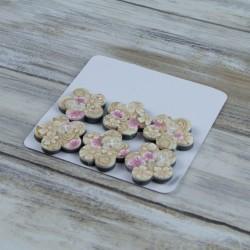 Boutons fleurs beige et rose, pâte polymère