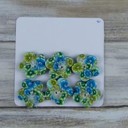 Lot de 6 boutons, motif de fleurs vertes et turquoises