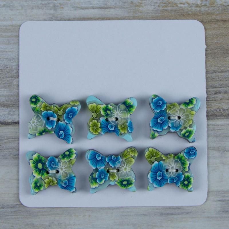 Lot de 6 boutons, forme originale de papillon