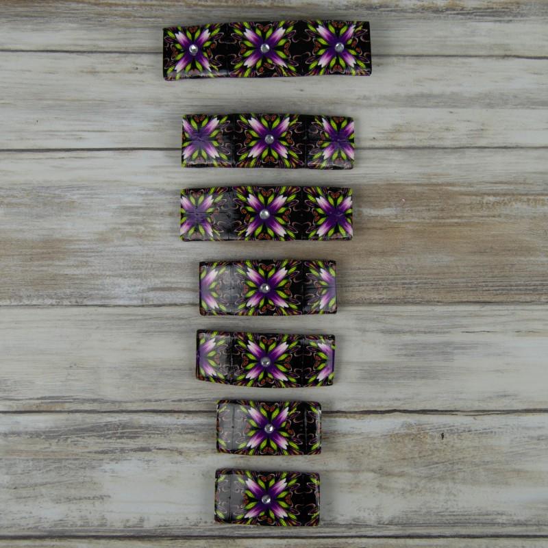 barrettes, motif géométrique floral. Style bohème