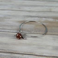 Bracelet jonc, acier inox, perle à pois