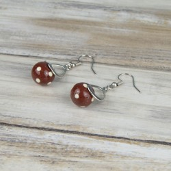boucles d'oreille, perles à pois, monture torsade, collection romance