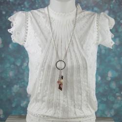 pendentif perles, pampille et ruban, collection Romance
