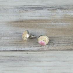 boucles d'oreille à puce, fleurs crème et rose