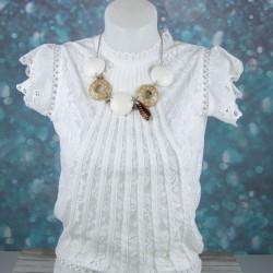 collier court porté, 5 lentilles, rubans et pampilles