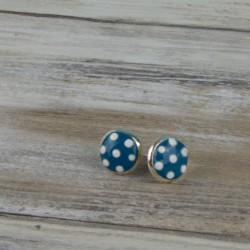 Boucles d'oreille puce, motif à pois blanc