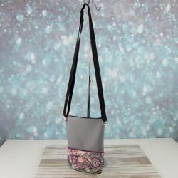 pochette - sac petit format - imprimé peasley / cachemire - uni gris et passepoil prune